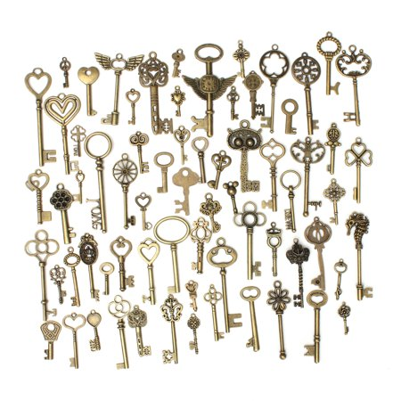 Retro Charm (69Pcs Vintage Retro Style Bronze Skeleton Key Fancy Charm Heart Pendant Decor Gift )