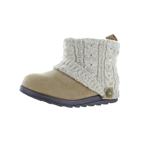 Muk Luks Womens Patti Sweater Faux Suede Fleece Ankle Boots