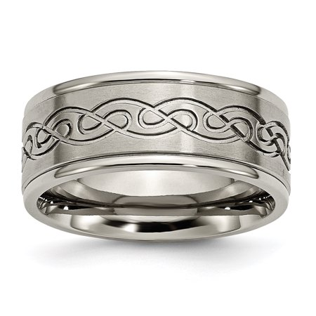 - Titanium 9mm Scroll Design Brushed and Polished Band TB307