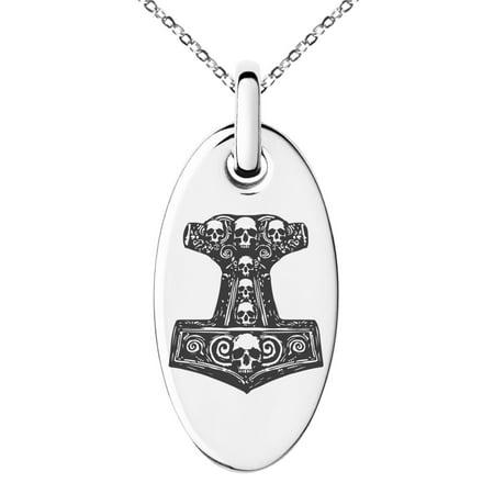 Black Oval Charm (Stainless Steel Mjolnir Thor's Black Skull Hammer Engraved Small Oval Charm Pendant Necklace)