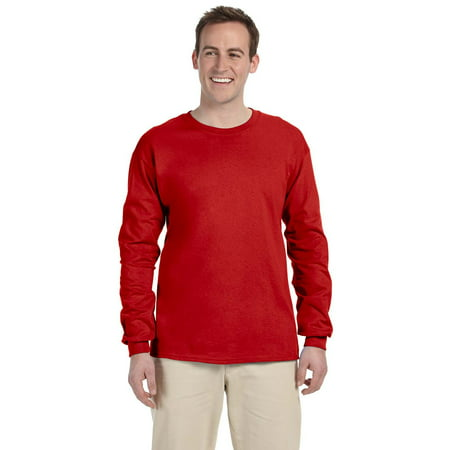 The Fruit of the Loom Adult 5 oz HD Cotton Long Sleeve T-Shirt - TRUE RED - 3XL