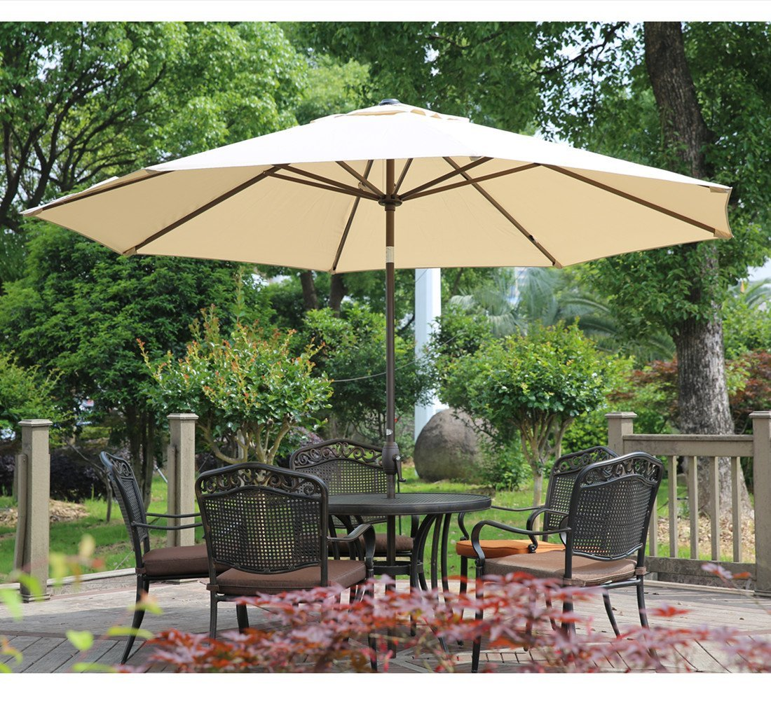 Image of Abba Patio 11-Ft Patio Umbrella with Push Button Tilt and Crank, 8 Steel Ribs, Beige