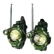 2Pcs Green Battery Operated Walkie Talkies Toys for Kids Two-Way Long Range Radio Clock for Outdoor Adventure Game
