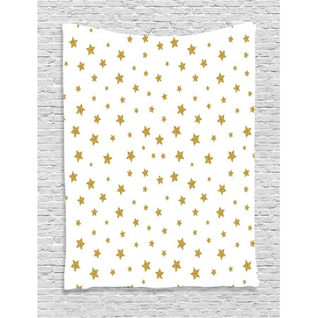 Star Tapestry, Stars Pattern Illustration Creative Stylish Birthday Bachelorette Theme Print, Wall Hanging for Bedroom Living Room Dorm Decor, Yellow and White, by Ambesonne