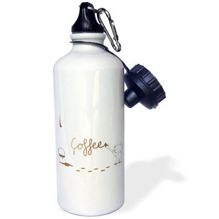 3dRose Cute Drip Guy Writing Coffee with Brush and Fake Drop of Brown Coffee Paint - cool faux stain, Sports Water Bottle, 21oz