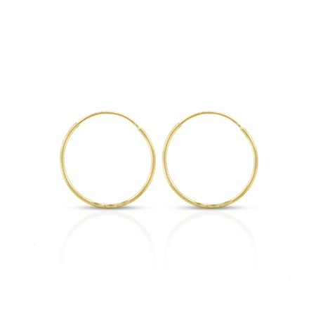 14k Yellow Gold Womens Diamond Cut 0.8mm Round Endless Tube Hoop Earrings 14mm Diameter