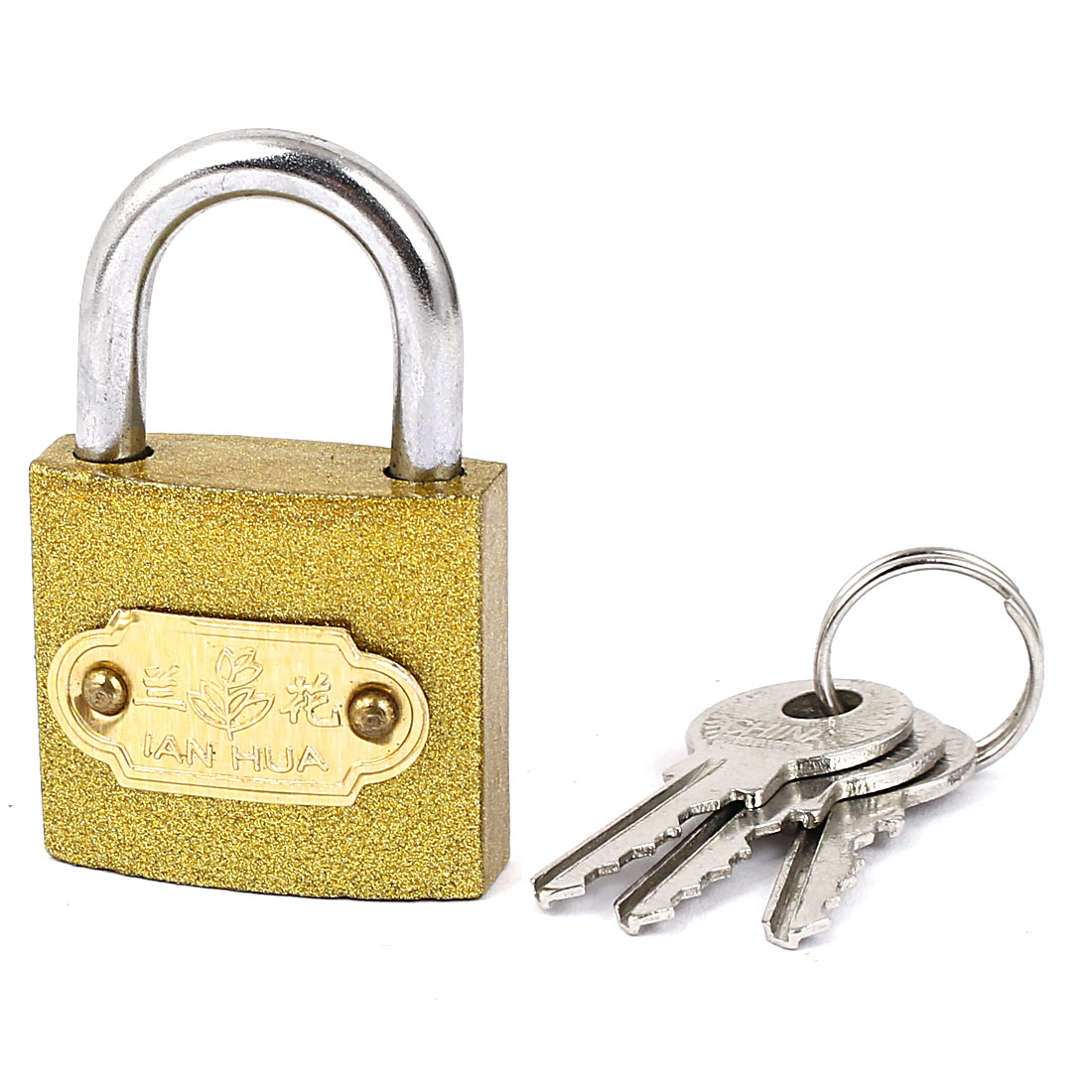 Home Cabinet Drawer Door Locking Security Padlock with key Brass Tone
