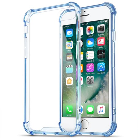 - iPhone 7 Plus Case (Blue) - Crystal Clear Soft TPU Protective Rugged Protection Anti-Slip Grip Shockproof Corner Bumper Scratch Resistant Back Raised Bezels Slim Fit Cover For Apple iPhone 7 Plus 2016