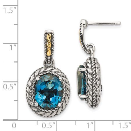 Sterling Silver Two Tone Silver And Gold Plated Sterling Silver w/London Blue Topaz Earrings - image 1 de 2