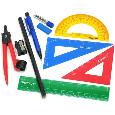 westcott ten piece math tool kit with geometry tools walmart com