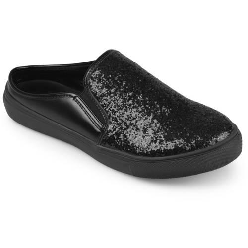 Brinley Co. Womens Glitter Faux Leather Slide Sneakers