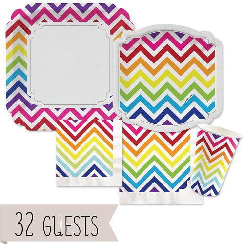 Chevron Rainbow - Party Tableware Plates, Cups, Napkins - Bundle for 32