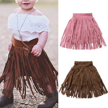 Faux-leather Velvet Cute Toddler Kids Baby Girl Princess Tassel Dress Party Skirt Dresses One-Piece Sundress