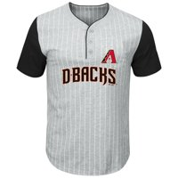Arizona Diamondbacks Majestic Big & Tall Pinstripe Henley T-Shirt - Gray/Black