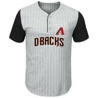Arizona Diamondbacks Majestic Big & Tall Pinstripe Henley T-Shirt - Gray/Black