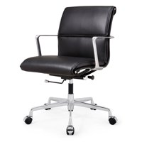 M347 Genuine Leather Padded Office Chair- Polished Aluminum Frame