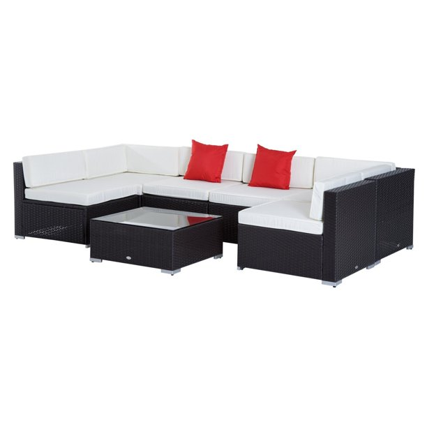Outsunny Rattan Wicker 7 Piece Sectional Patio Conversation Set With White Cushions