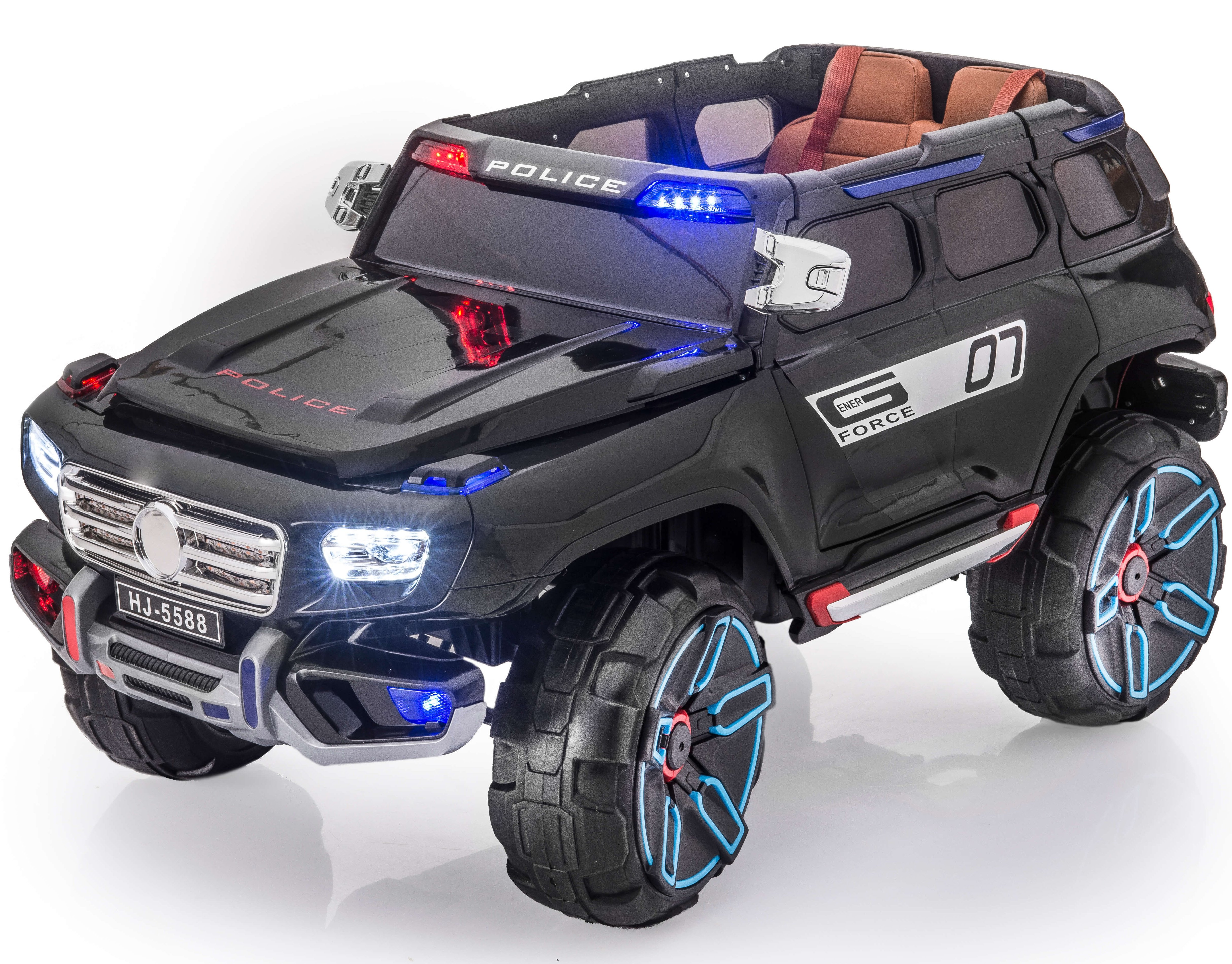 Premium Police Edition 12V Battery Powered Ride On Electric Toy Car For Kids Leather Seat LED Lights MP3 RC... by KidsVip Exclusive Toys for Kids and Toddlers