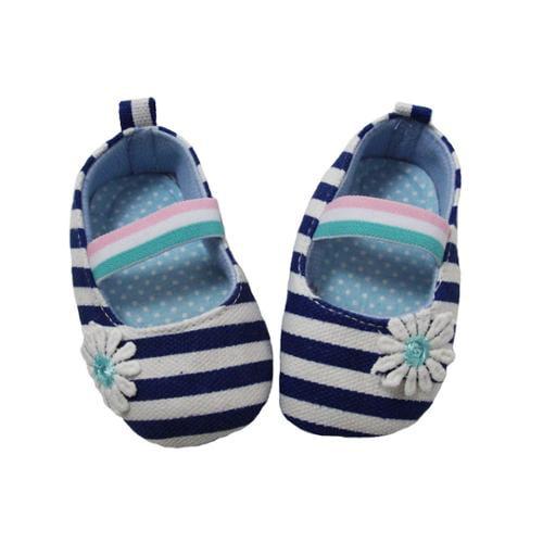 Baby Girls Blue White Striped Daisy Embellishment Crib Shoe 0-12M
