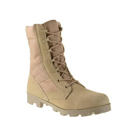 Ameritac 9 Side Zip Suede Leather Combat Work Outdoor Men's Desert Tan (Mens Desert Boot)