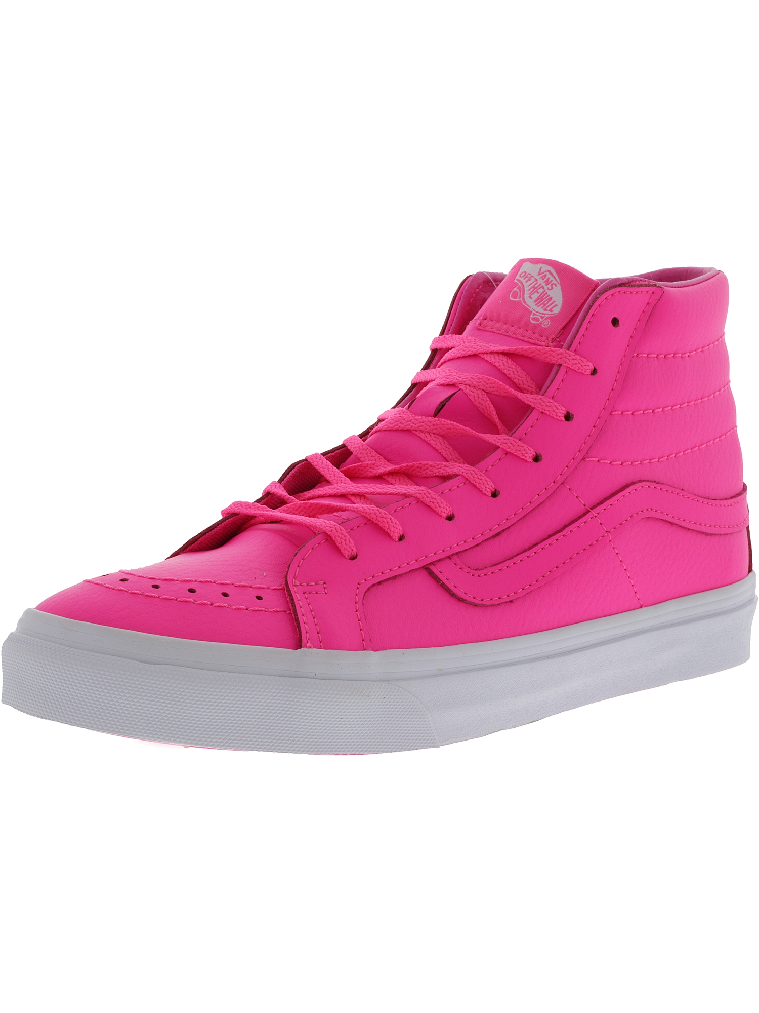 2d106af2108 Vans Sk8-Hi Slim Neon Leather Pink High-Top Skateboarding Shoe - 5.5M   4M