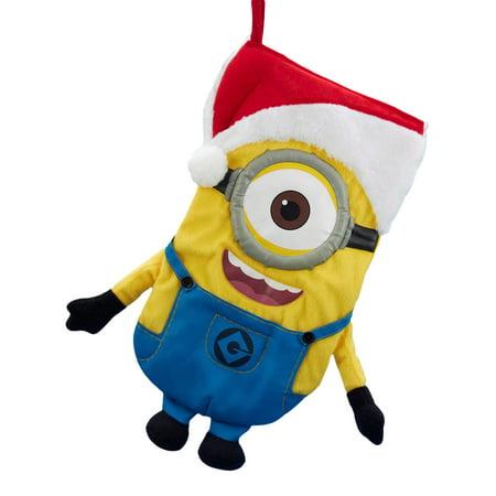 Despicable Me Stuart the Minion with Santa Hat Plush Christmas Stocking