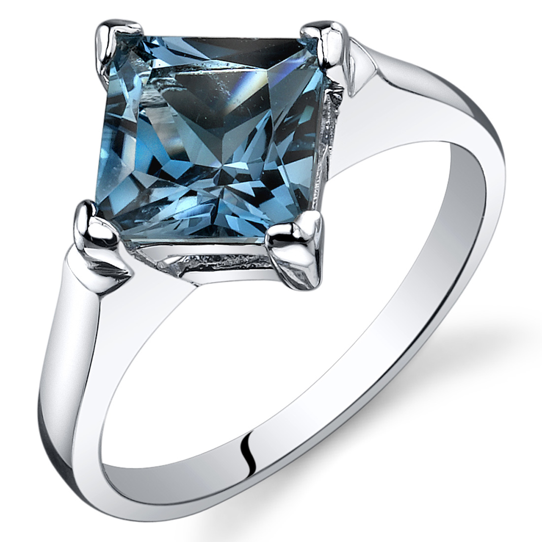 Peora 2.00 Ct London Blue Topaz Engagement Ring in Rhodium-Plated Sterling Silver