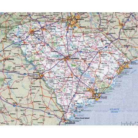 Laminated Map - Large detailed roads and highways map of South Carolina state with all cities Poster 24 x