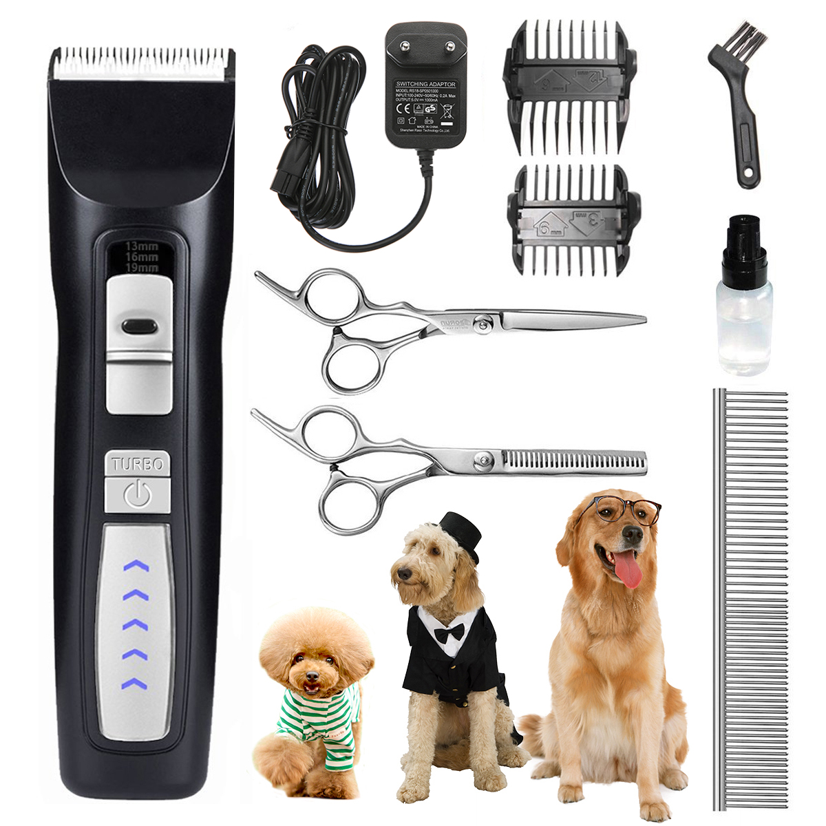 Dog Pet Grooming Clippers for Thick fur,Focuspet Low Noise Professional Dog Grooming Clippers Rechargeable Cordless Pet Grooming Clippers Tool Trimmer for Small to Large Dogs Cat
