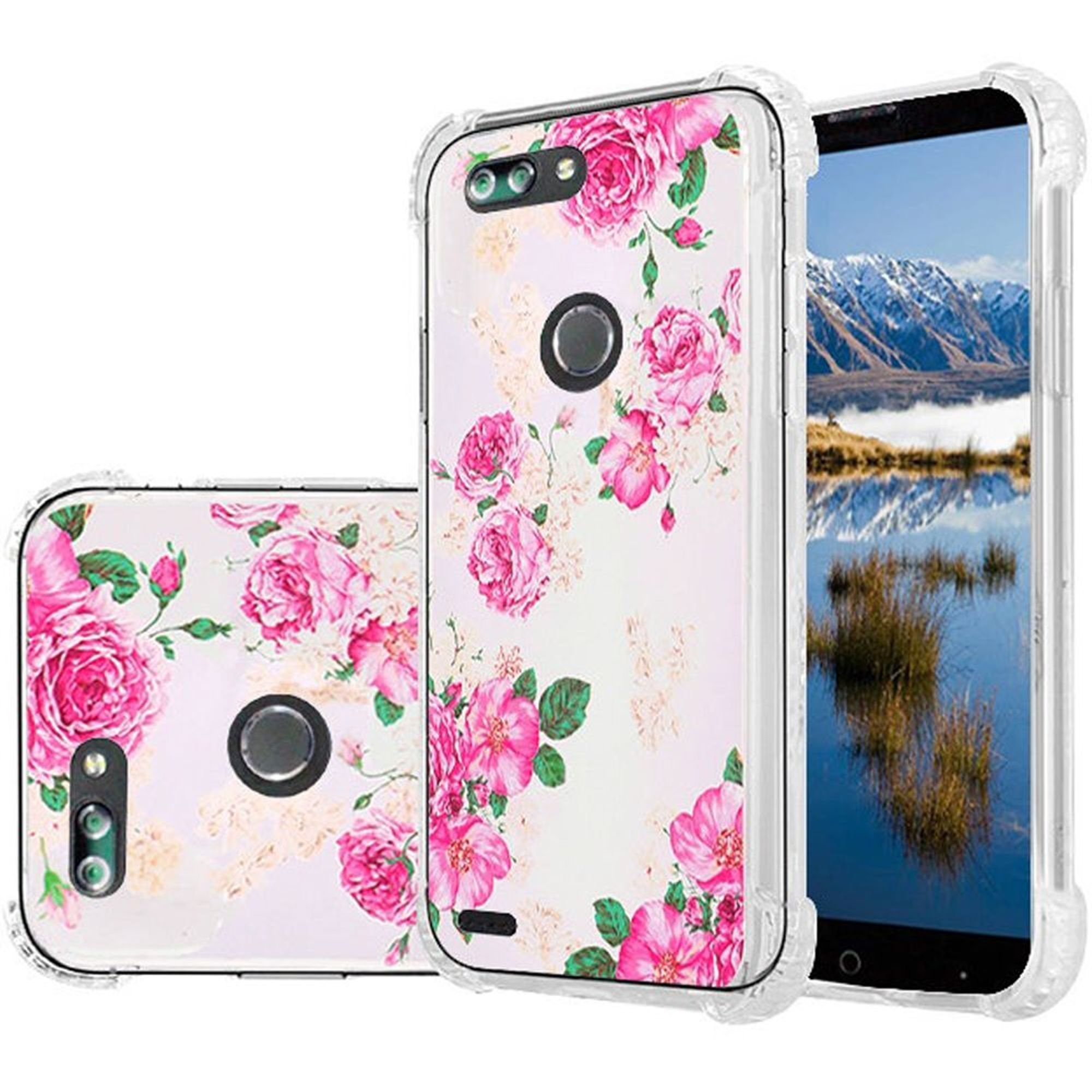 ZTE Blade Z Max Case, by HR Wireless Rose Blossom Shockproof Dual Layer Hybrid Hard Plastic/Soft TPU Rubber Case Cover For ZTE Blade Z Max, Pink/White