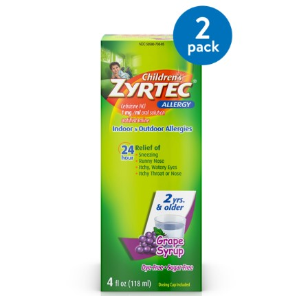 (2 Pack) Zyrtec 24 Hr Children's Allergy Relief Syrup, Grape Flavor, 4 fl. Oz