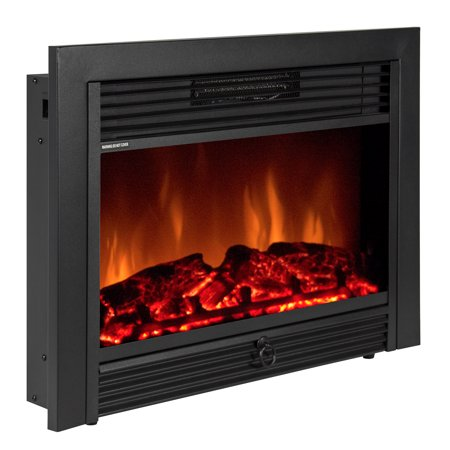 Best Choice Products 28.5in Insert Electric Adjustable Fireplace Heater Display w/ 5 Brightness Levels, 3D Logs, Realistic Flames, Remote