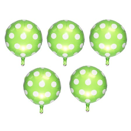 Unique Bargains Festival Foil Dot Pattern Ornament Helium Balloons Light Green 18 Inches 4 Pcs](Green Helium Balloons)