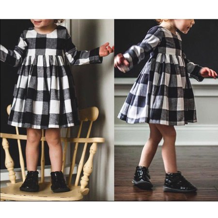 Winter Girl Toddler Princess Dress Kids Baby Party Pageant Plaid Dresses Clothes