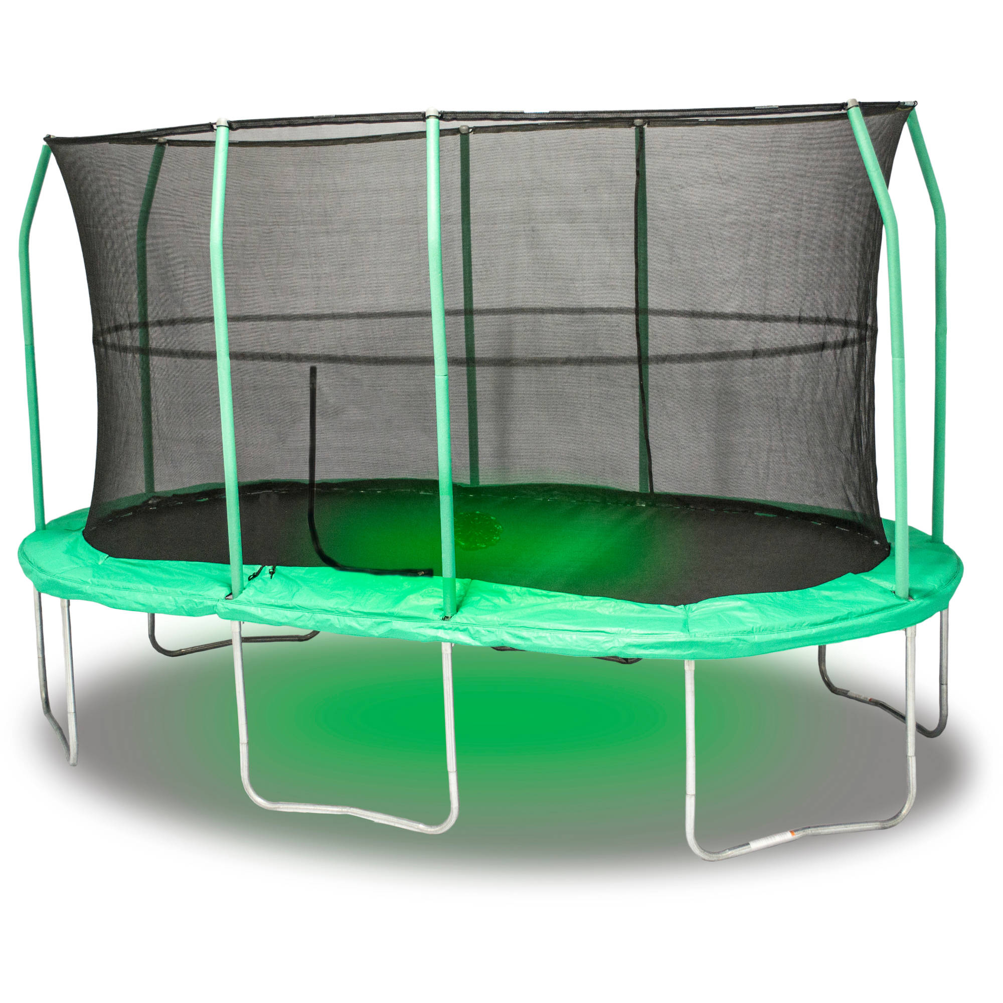 JumpKing Oval 9 x 14 Foot Trampoline, with Sound and Light, Green