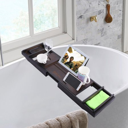 Luxury Extendable Natural Bamboo Bathroom Bathtub Caddy Tray Shower ...