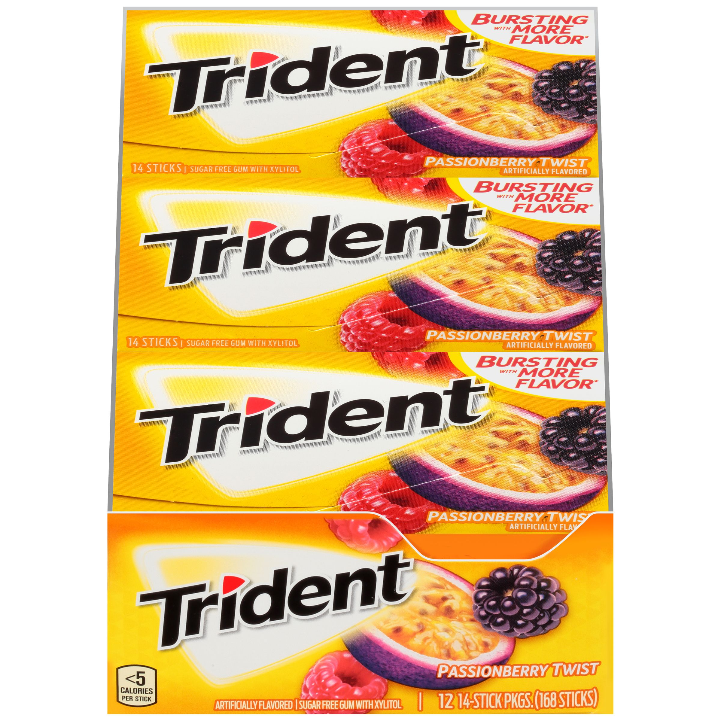Trident, Sugar Free Passionberry Twist Chewing Gum, 14 Pcs, 12 Ct