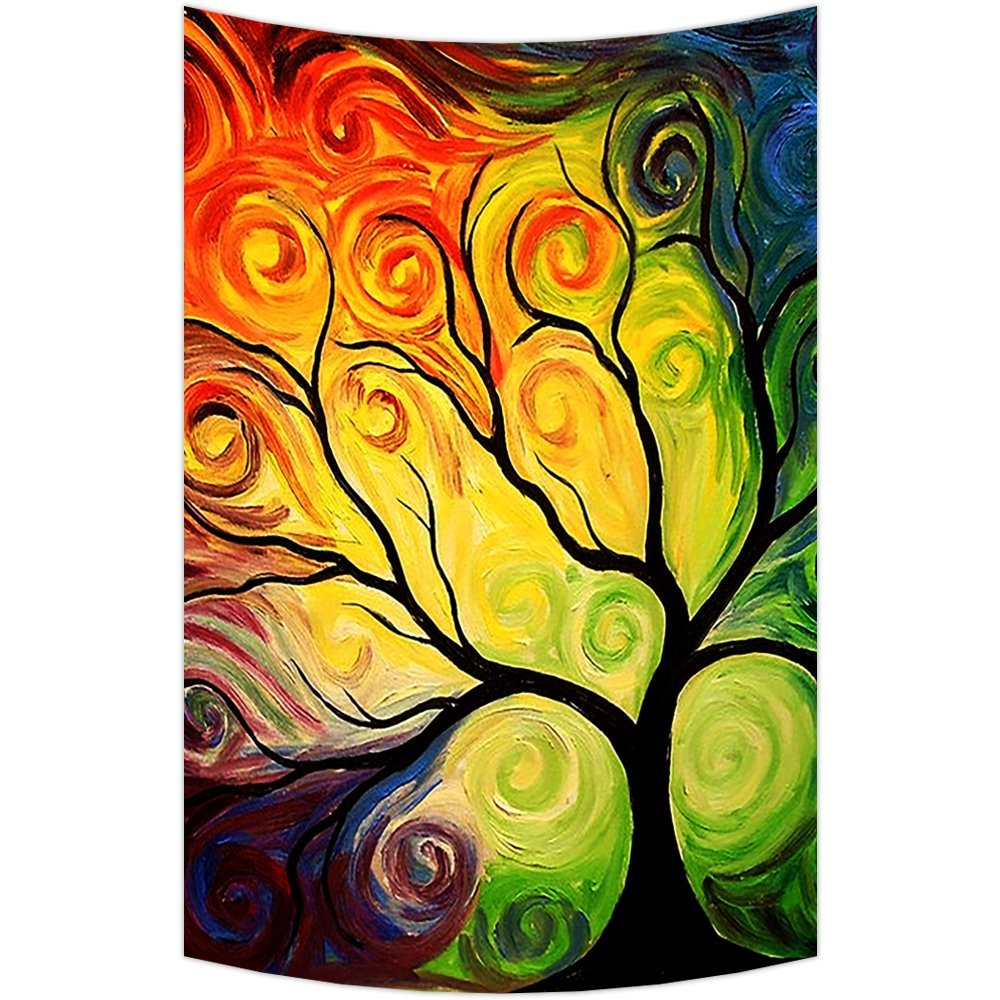 GCKG Colorful Art Tree Wall Art Tapestries Home Decor Wall Hanging ...