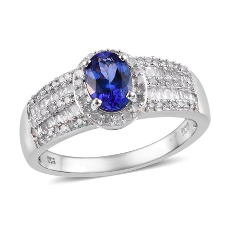 925 Sterling Silver Platinum Plated AAA Premium Blue Tanzanite Diamond Baguette Ring Jewelry for Women Gift Cttw 1.4