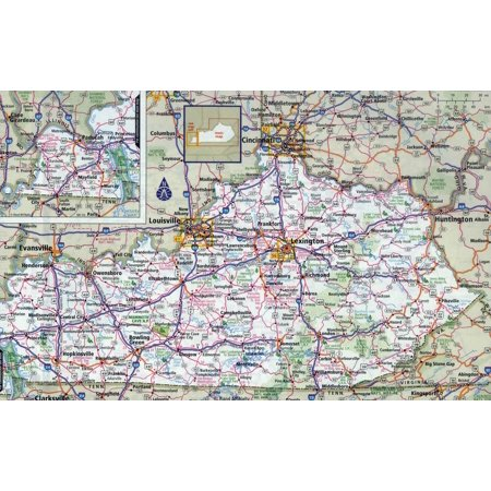 Laminated Map - Large detailed roads and highways map of Kentucky state with all cities Poster 24 x 36