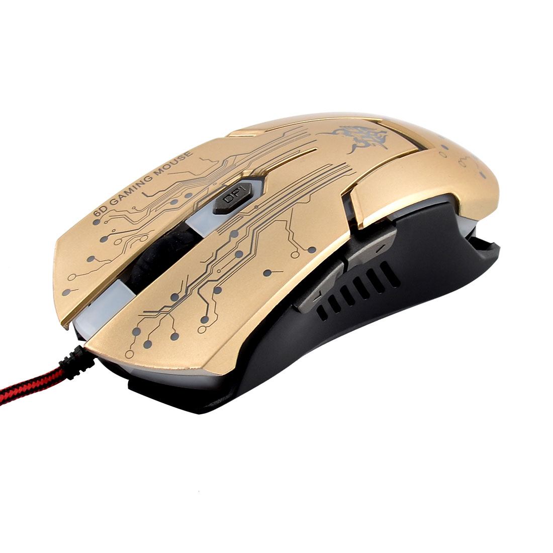 Unique Bargains USB  Light 4000 DPI 6D Optical Wired Gaming Mice Gold Tone for Pro Gamer