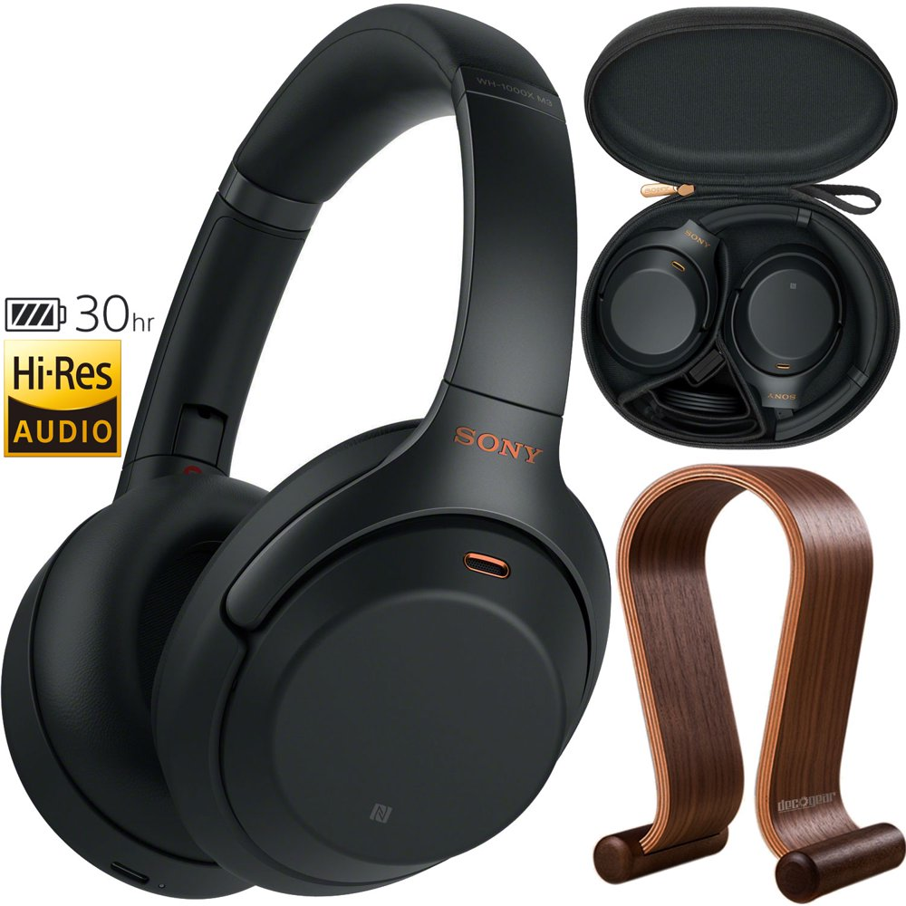 Sony WH1000XM3 Premium Noise Cancelling Wireless Bluetooth Headphones with Built In Microphone WH-1000XM3/B (Black) Plus Deco Gear Wood Headphone Display Stand and Protective Travel Carry Case