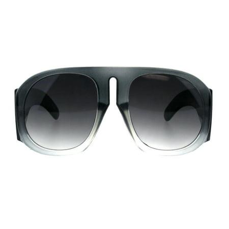 Mens 80s Retro Flat Top Racer Vintage Plastic Sunglasses Grey (Vintage Flat Top Sunglasses)