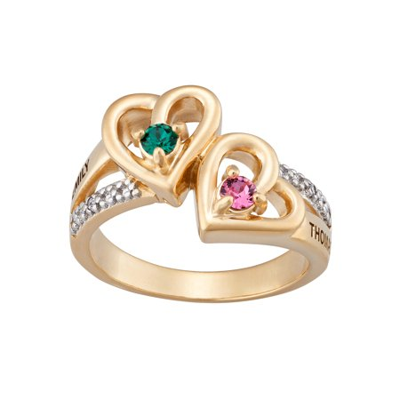 - Family Jewelry Women's Personalized 14kt Gold over Sterling Silver Couple's Heart Birthstone & Name Diamond Accent Ring