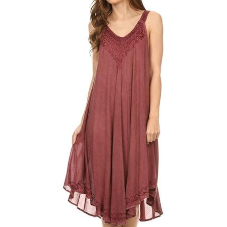 Stone Dress Clip - Sakkas Calais Mid Length Sleeveless Tank Top Detailed Embroidery Caftan Dress - Burgandy - One Size Regular