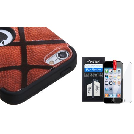 Insten Basketball High Impact Hard Soft Rubber Hybrid Case+Film For iPod Touch 6G 6 6th 5G 5 5th Gen ()