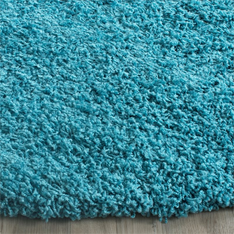"Safavieh Laguna Shag 6'7"" Square Power Loomed Rug in Turquoise - image 7 of 10"