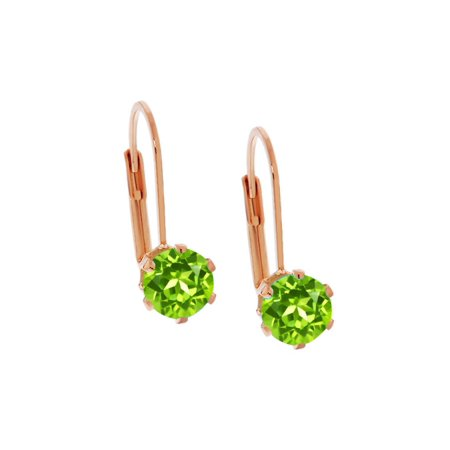Beautiful 1.80 Ct Round Shape Green Peridot Rose Gold Plated Stud Earrings