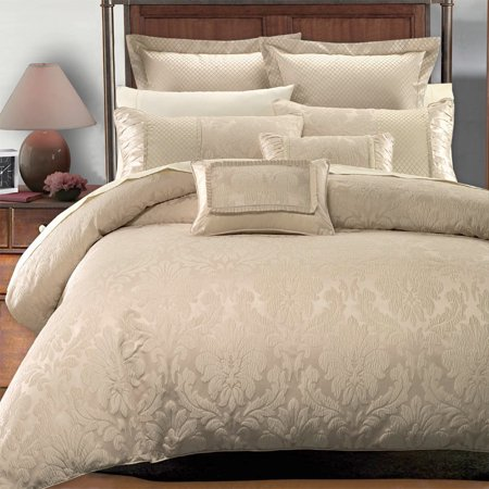 Jacquard Duvet Set (Soft 7-PC Duvet Cover Woven Jacquard Bedding Set With Shams & Decorative Pillows - Full/Queen - Sara Beige)