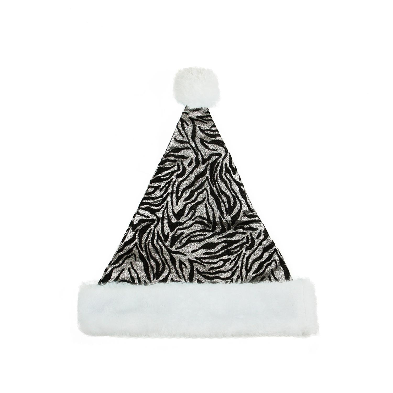 "14"" Diva Safari Black and Silver Christmas Santa Hat with White Faux Fur Brim - Medium Adult Size"